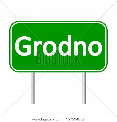 Grodno road sign isolated on white background.
