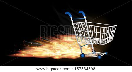 a shopping cart with fire burning vector