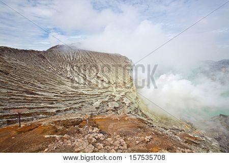 Sulfur Mine at Khawa Ijen Volcano Crater Java Island Indonesia