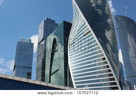 Skyscrapers of business center Moscow City and Bagration Bridge