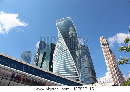 Bagration Bridge and Skyscrapers of business center Moscow City