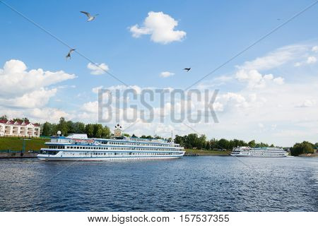 Passenger ships are at berth ancient city of Uglich in Russia