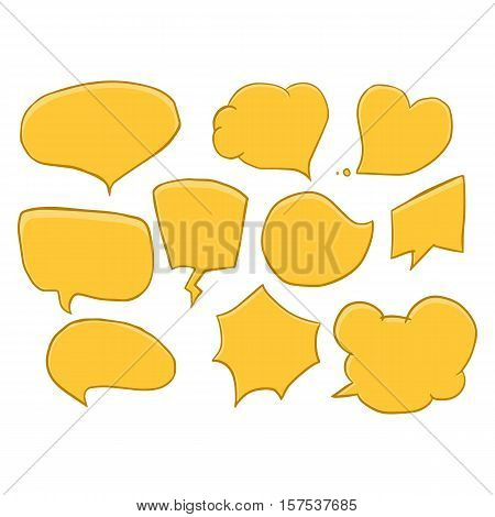 Vector set of comic speech bubbles. Hand drawn set of comic quotes balloons