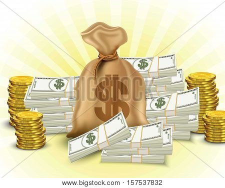 Money set. Paper money, stack of gold coins, sack of dollars