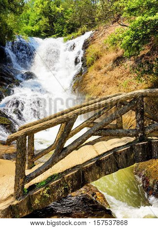 Wooden Bridge Over The Gorge And The Datanla Waterfall In Da Lat City (dalat), Vietnam