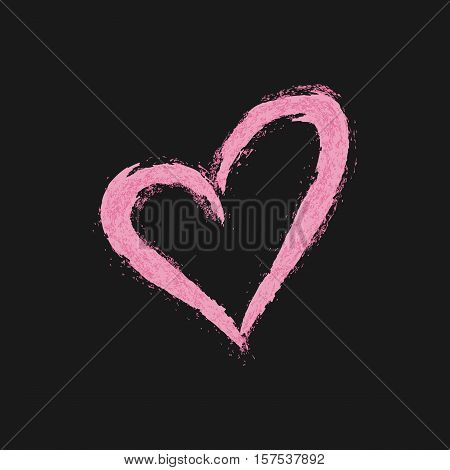 Heart silhouette painted rough brush. Pink symbol on a black background. Grunge.