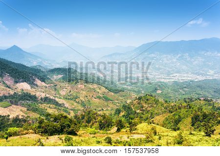 Beautiful View Of The Valley In The Mountains Around Da Lat City (dalat) On The Blue Sky Background