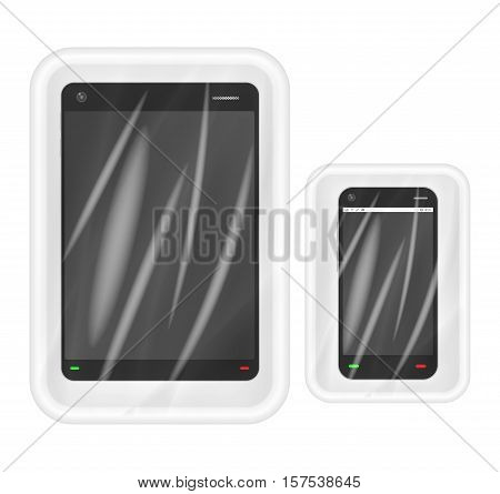smartphone and tablet in White polystyrene packaging
