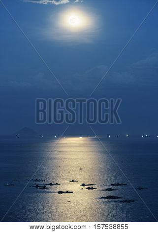 Marine Farms In South China Sea Illuminated By Moonlight