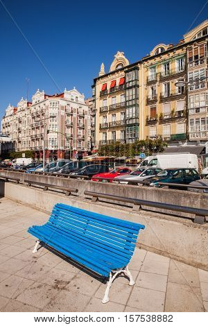 View of blue bench in Santander Cantabria. Spain
