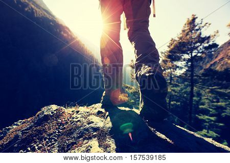 successful hiker enjoy the sunrise at the himalaya mountains