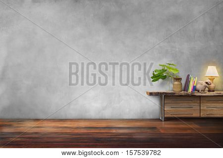 green plants pottery vase on drawer wooden in empty blue vintage living room interior poster