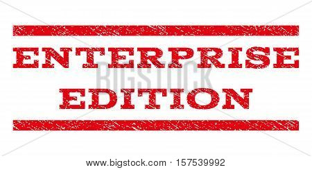 Enterprise Edition watermark stamp. Text caption between parallel lines with grunge design style. Rubber seal stamp with unclean texture. Vector red color ink imprint on a white background.