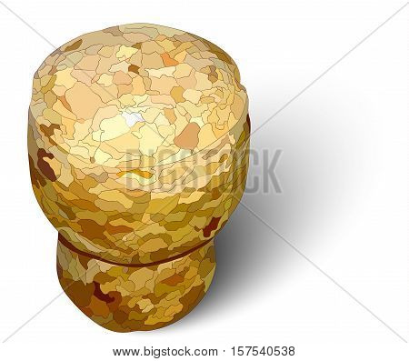 champagne cork left white background photorealistic macro