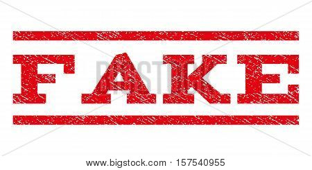 Fake watermark stamp. Text caption between parallel lines with grunge design style. Rubber seal stamp with unclean texture. Vector red color ink imprint on a white background.