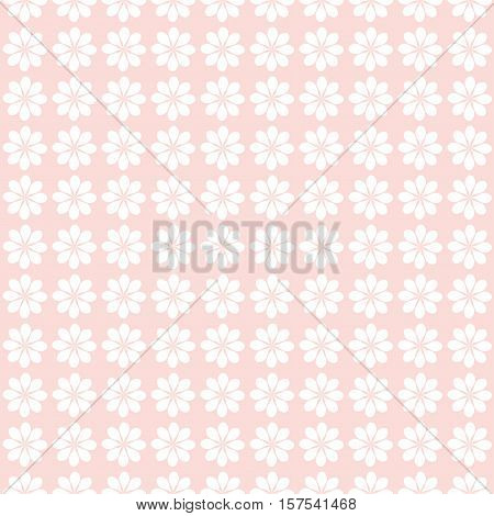 Christmas seamless pattern withl snowflakes white on pale pink