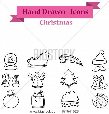 Set of vector Christmas icon collection stock