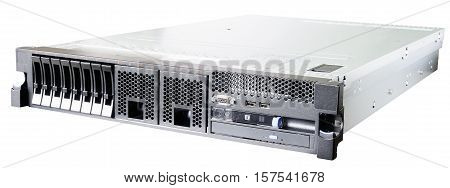 Rack mount server isometric view isolated on the white