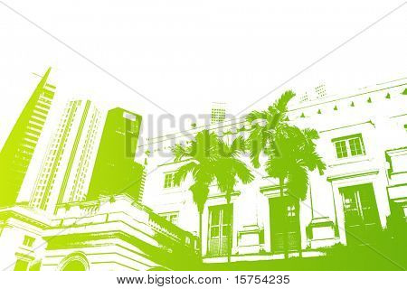 Green Trendy and Modern City Life Abstract Background