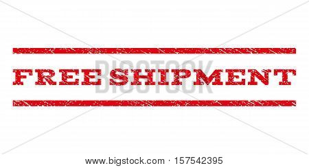 Free Shipment watermark stamp. Text caption between parallel lines with grunge design style. Rubber seal stamp with dirty texture. Vector red color ink imprint on a white background.