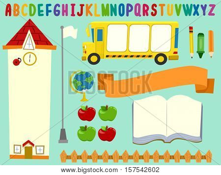 Bulletin Board Printable Featuring the Illustration of a School, a Bus, and School Supplies