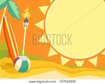 Colorful Board Illustration of a Bright Summer Scene Featuring a Tropical Island, a Surf Board, a Tiki Torch, and a Beach Ball