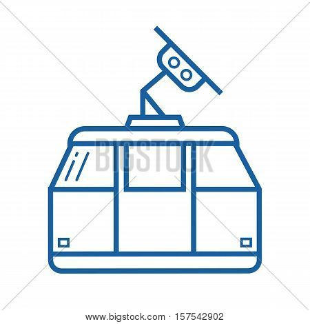 Funicular vector icon. Ski cable car illustration in outline design.
