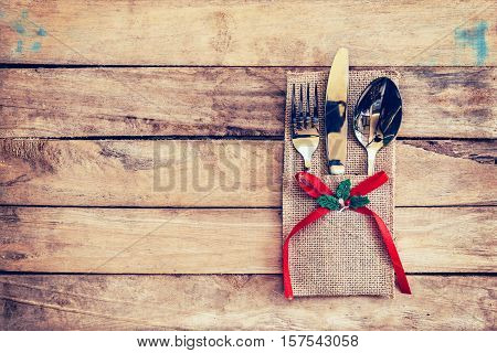 Christmas Table Place Setting And Silverware On Wood With Space And Table Setting On Wood Background