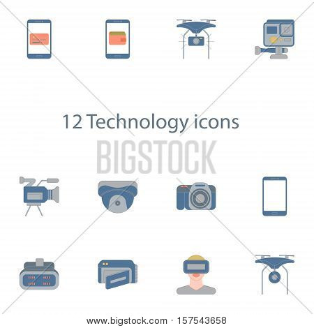 Vector illustration icons set of 12 techology images in outline style