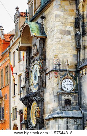 The Prague Astronomical Clock (prague Orloj) At The Old Town Square In Prague, Czech Republic