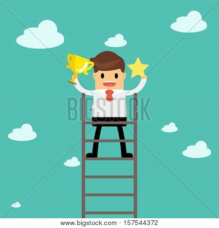 Business Man Holding The Trophy And Catching The Star Show His Successful. Business Concept A Ladder