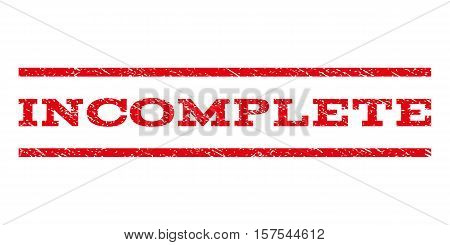 Incomplete watermark stamp. Text caption between parallel lines with grunge design style. Rubber seal stamp with unclean texture. Vector red color ink imprint on a white background.