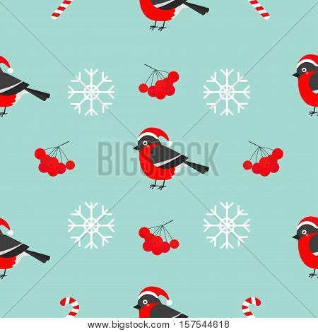 Christmas snowflake rowan rowanberry sorb bullfinch bird wearing red santa hat. Seamless Pattern Decoration. Wrapping paper textile template. Blue background. Flat design. Vector illustration.