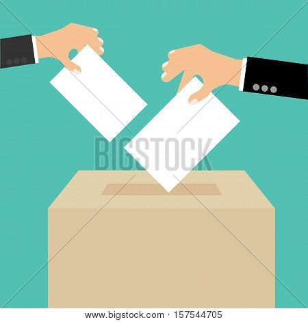 Voting Concept In Flat Style - Hand Putting Paper In The Ballot Box