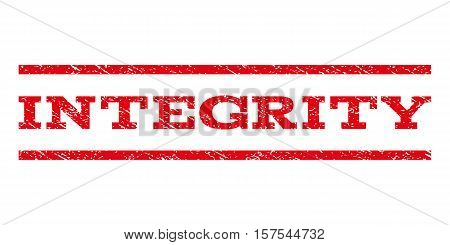 Integrity watermark stamp. Text caption between parallel lines with grunge design style. Rubber seal stamp with dirty texture. Vector red color ink imprint on a white background.