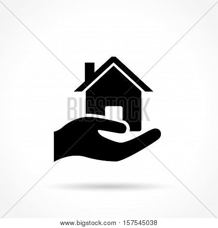 Home in hand icon on white background