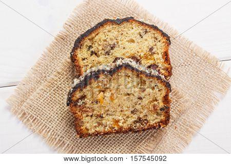 Fresh Baked Fruitcake On White Boards