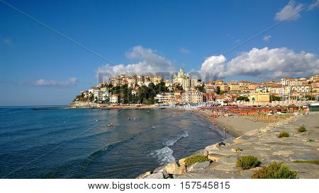The city of Imperia in Italia on sunny weather