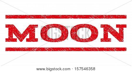 Moon watermark stamp. Text tag between parallel lines with grunge design style. Rubber seal stamp with dirty texture. Vector red color ink imprint on a white background.
