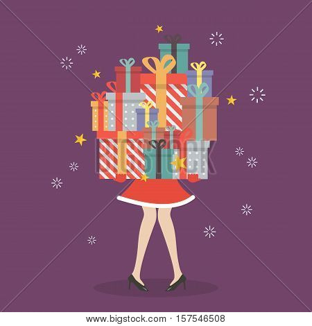Santa woman holding a pile of gift boxes. vector illustration