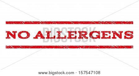 No Allergens watermark stamp. Text caption between parallel lines with grunge design style. Rubber seal stamp with dust texture. Vector red color ink imprint on a white background.