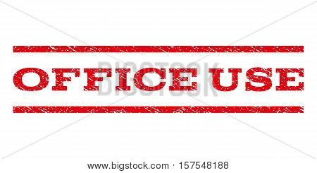 Office Use watermark stamp. Text tag between parallel lines with grunge design style. Rubber seal stamp with dirty texture. Vector red color ink imprint on a white background.