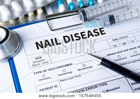 Nail Disease Fungus Infection On Nails Hand, Finger With Onychomycosis.