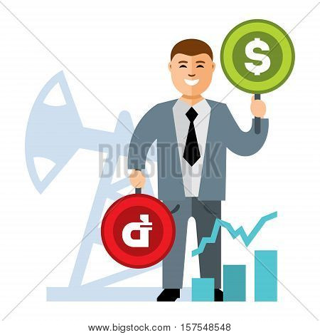 Broker with dollar signs and the ruble. The impact of oil on the exchange rate. Isolated on a white background
