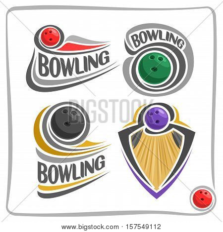 Vector abstract logo Bowling Ball on wood alley lane, decoration sign leisure club, simple line colorful ball throwing on track floor, isolated fun games icon on white, flat design bowling blazon cup.