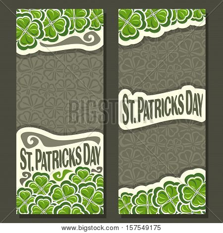 Vector abstract vertical Banner for St Patrick's Day on Shamrock gray background, greeting Clover card for congratulation text, clover symbol saint patrick day on shamrock leaf pattern trefoil foliage