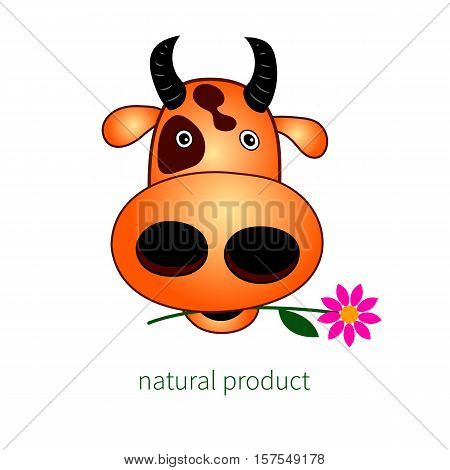 Head of cow. Vector illustration. Logo for farm. Production of beef. Funny cartoon animal character with flower.