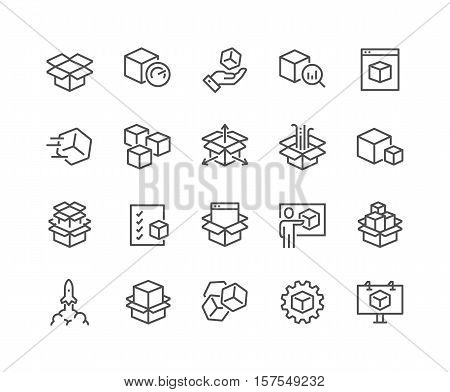 Simple Set of Abstract Product Related Vector Line Icons. Contains such Icons as Unit, Module, Product Release, Presentation and more. Editable Stroke. 48x48 Pixel Perfect. poster