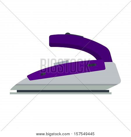 Purple iron isolated on white background - vector illustration. Flat icon logo electrical equipment ironing electric appliance home device housework tool