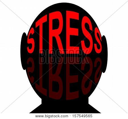 Stress. Human head with red text stress.